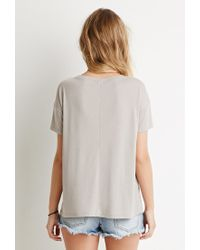 Forever 21 | Gray Drop-sleeve Ribbed Tee | Lyst
