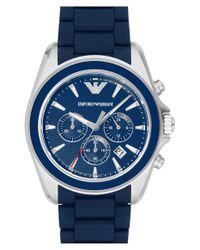 Emporio Armani - Blue Chronograph Watch for Men - Lyst