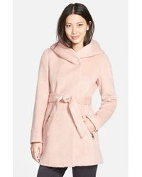 Guess | Pink Hooded Shawl Collar Wrap Coat | Lyst