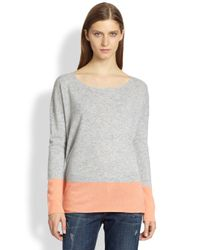 Vince | Gray Cashmere Colorblock Sweater | Lyst