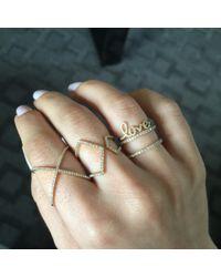 EF Collection | Metallic Diamond Split Chevron Ring | Lyst