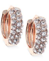 Anne Klein - Pink Gold-tone Crystal Huggie Hoop Earrings - Lyst