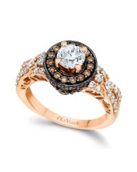 Le Vian - Multicolor Chocolate and White Diamond Engagement Ring in 14k Rose Gold 158 Ct Tw - Lyst