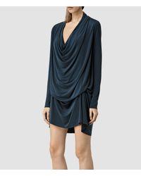 AllSaints - Blue Amei Long Sleeved Dress - Lyst