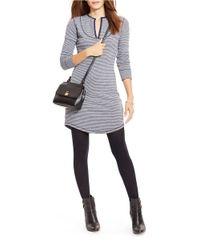 Lauren by Ralph Lauren Gray Striped French Terry Dress