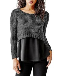 Guess | Black Cropped Knit Sweater | Lyst