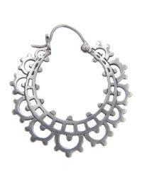 Laurent Gandini Metallic Lace Hoop Earring
