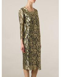 Dolce & Gabbana - Metallic Floral Lace Dress - Lyst