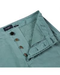 Paul Smith Blue Sea Green Garment-Dye Stretch-Cotton Chinos for men