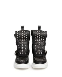 Alexander McQueen Black Chunky Outsole Stud Leather Sneaker Boots