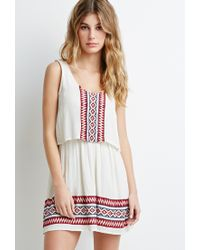 Forever 21 | White Embroidered Gauze Layered Dress | Lyst