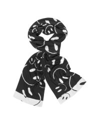 Moschino Black Smile Woven Wool Scarf