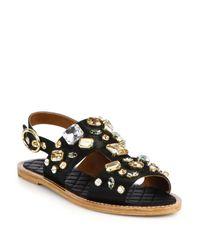 Dolce & Gabbana | Black Embellished Satin Sandals | Lyst