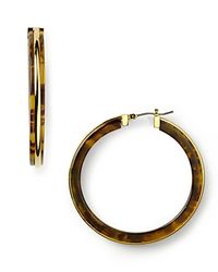 Lauren by Ralph Lauren | Metallic Heritage Tortoise Hoop Earrings | Lyst
