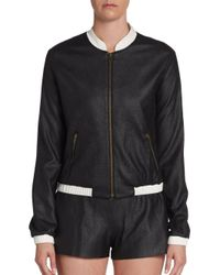 Georgie - Black Perforated Faux Leather Bomber Jacket - Lyst