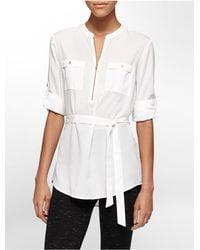 Calvin Klein | White Label Mandarin Collar Tie Waist Roll-up Sleeve Tunic | Lyst