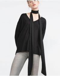 Zara | Black Top With Detail | Lyst
