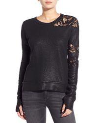 Pam & Gela - Black Lace Inset Sweatshirt - Lyst