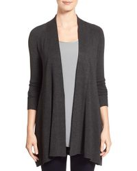 Eileen Fisher | Gray Long Open Front Cardigan | Lyst
