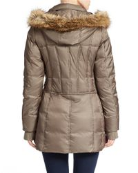 Betsey Johnson Brown Faux Fur-trimmed Puffer Coat