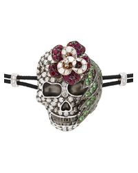 Pippo Perez - Black Diamond Skull Bracelet - Lyst