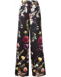 Adam Lippes Black Boutique Floral-print Wide-leg Trousers