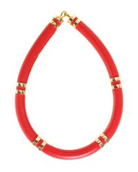Lizzie Fortunato Red Leather Tube Necklace