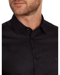 Versace Jeans - Black Slim Fit Embroidered Logo Shirt for Men - Lyst