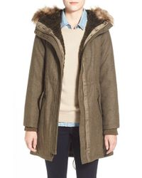 Vince Camuto | Brown Faux Fur Trim Wool Blend Parka | Lyst