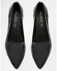 ALDO Bazovica Black Leather Flat Ballerina Shoes