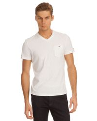 Kenneth Cole | White V-neck Pocket T-shirt for Men | Lyst