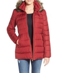 MICHAEL Michael Kors Purple Hooded Down & Feather Fill Coat With Faux Fur Trim