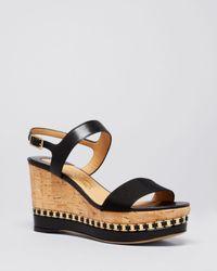 Ferragamo - Black Open Toe Platform Wedge Sandals - Mollie Logo Chain - Lyst