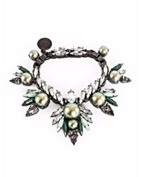 Ellen Conde | Iridescent Green Pearl And Crystal Bracelet | Lyst