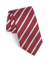 BOSS - Red Stripe Silk Tie for Men - Lyst