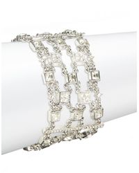 Lauren by Ralph Lauren | Metallic Silvertone Crystal Multi-row Bracelet | Lyst