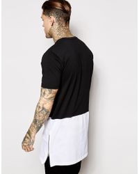 Antioch Black Super Longline T-shirt With Panelling And Side Zips for men