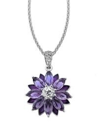 Lord & Taylor | Purple Sterling Silver Necklace With Amethyst And White Topaz Flower Pendant | Lyst