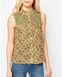 ASOS - Metallic Sleeveless Blouse In Ditsy Print With Shirring Detail - Lyst