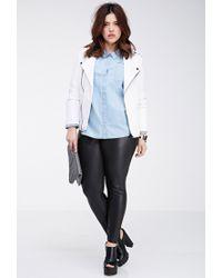 Forever 21 - Blue Plus Size Polka Dot Chambray Shirt - Lyst