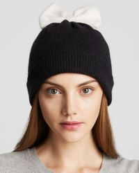 kate spade new york - Black Colorblock Bow Beanie - Lyst