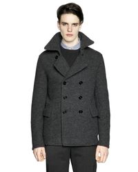 Z Zegna | Gray Boiled Wool Jersey Peacoat for Men | Lyst