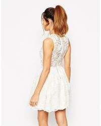 ASOS - Natural Lace Crop Top Skater Dress - Lyst
