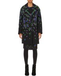 Erdem Black Floral-print Stretch-crepe Coat