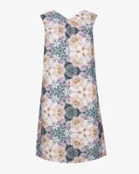 Ted Baker Blue Illonia Tile Floral Geo Shift Dress
