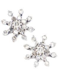 Macy's | Diamond Snowflake Earrings In 14K White Gold (1/4 Ct. T.W.) | Lyst