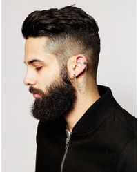 ASOS | Metallic Cuff And Stud Earring With Chain for Men | Lyst