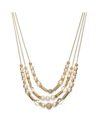 INC International Concepts - Metallic Faux Pearl and Crystal Threerow Necklace - Lyst