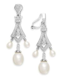 Macy's | Metallic Cultured Freshwater Pearl (4-8mm) And Diamond Accent Earrings In Sterling Silver | Lyst
