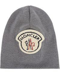 Moncler Gray Virgin Wool Large Logo Beanie for men